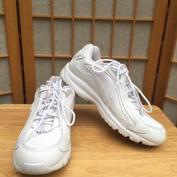 White Leather Athletic Sneakers Sz
